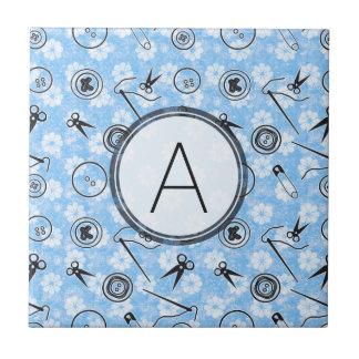 Blue Grey Sewing Pattern with Monogram Ceramic Tile