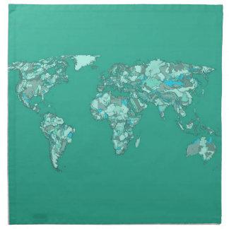 blue grey sketch earth napkin