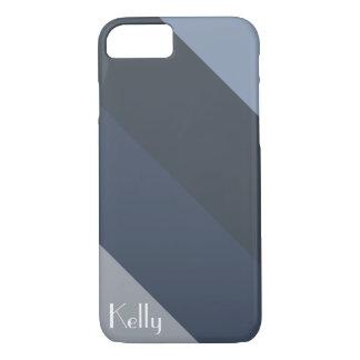 Blue Grey Stripe Diagonal Monogram Name Customize iPhone 8/7 Case