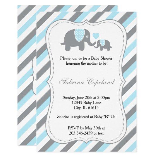 Blue & Grey Stripe Elephant Baby Shower Invitaion