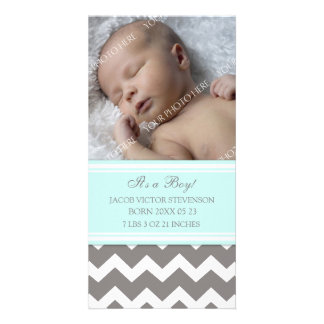 Blue Grey Template New Baby Birth Announcement Personalised Photo Card