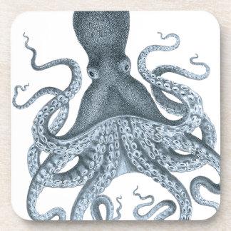 Blue Grey Vintage Octopus Illustration Coaster