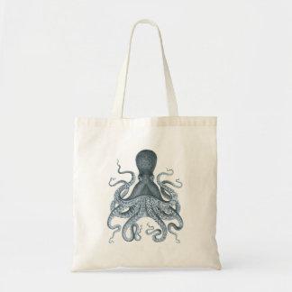 Blue Grey Vintage Octopus Illustration Tote Bag