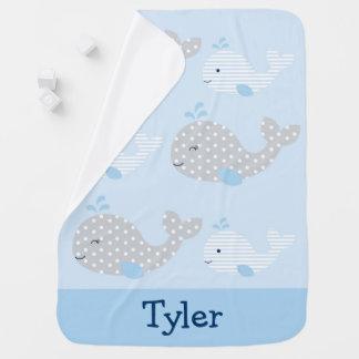 Blue & Grey Whale Nursery Baby Blanket