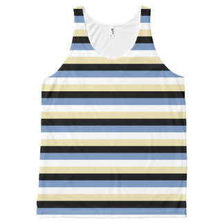 Blue/Grey, White, Beige and Black Stripes All-Over Print Tank Top