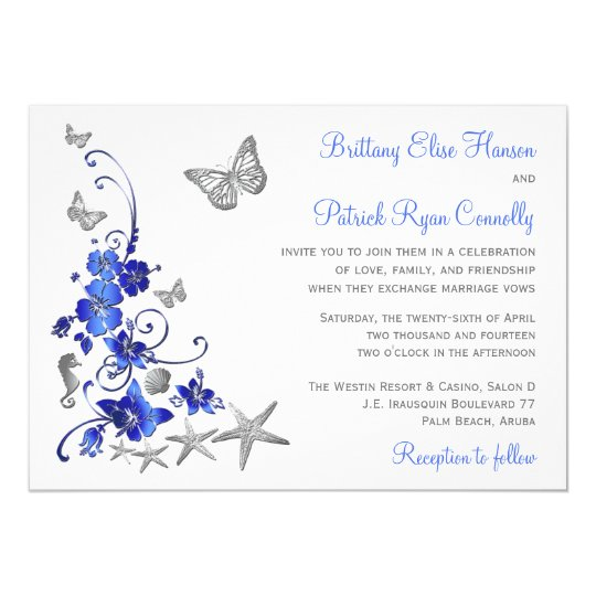 Blue, Grey, White Tropical Beach Wedding Invite