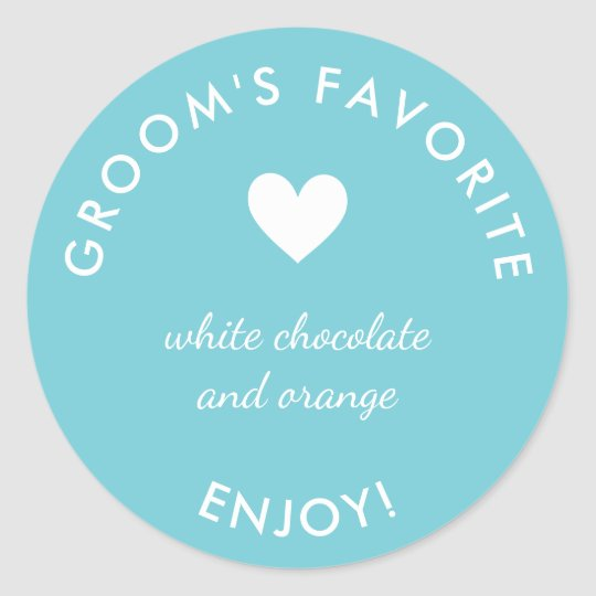 Blue groom's favourite wedding favour sticker