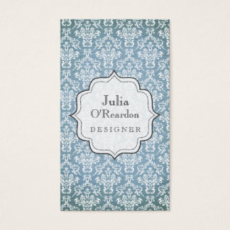 Blue Grunge Antique Damask Designer Business Card