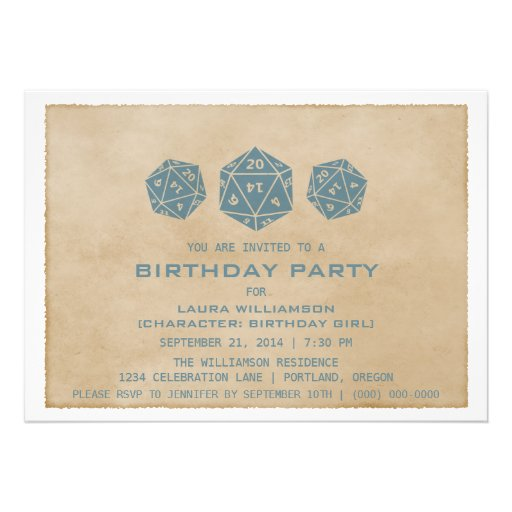 Blue Grunge D20 Dice Gamer Birthday Party Invite