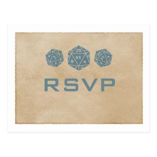 Blue Grunge D20 Dice Gamer RSVP Postcard