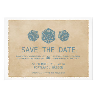 Blue Grunge D20 Dice Gamer Save the Date Invite