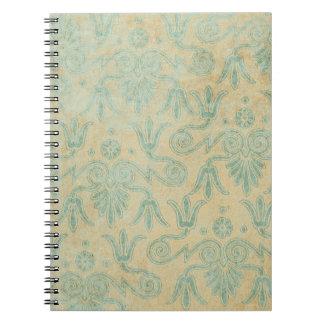 Blue Grunge Decorative Pattern background Spiral Notebook