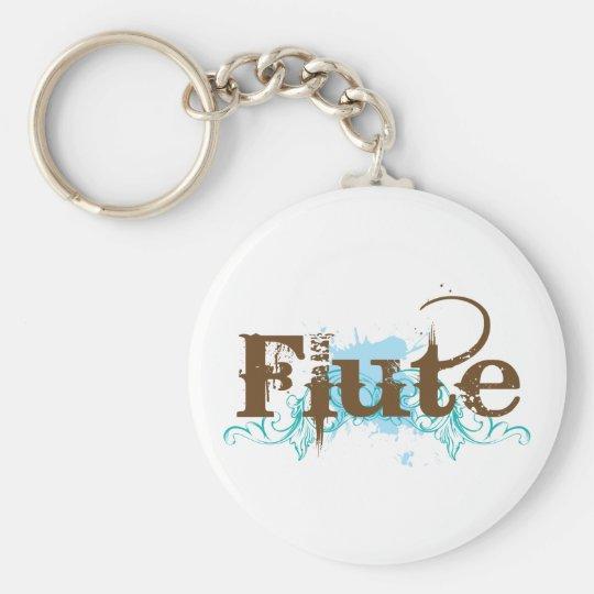 Blue Grunge Flute Music Design Basic Round Button Key Ring