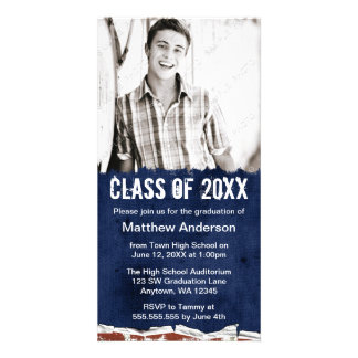 Blue Grunge Graduation Announcement Personalized Photo Card