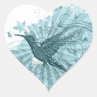 Blue Grunge Hummingbird Heart Sticker