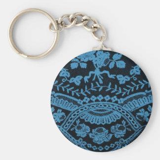 Blue Grunge Lace Basic Round Button Key Ring