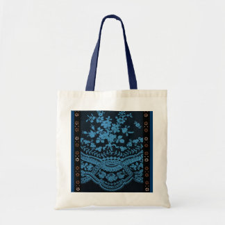 Blue Grunge Lace Budget Tote Bag