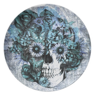 Blue grunge ohm skull with roses plate
