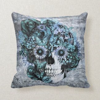Blue grunge ohm sunflower skull cushion