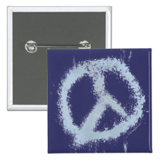Blue Grunge Peace Sign Pin
