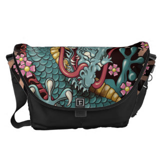 Blue Grunge Splash Tattoo Dragon with Wind Bars Messenger Bag