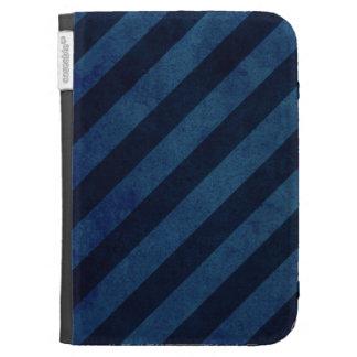 Blue Grunge Stripes Kindle Folio Case