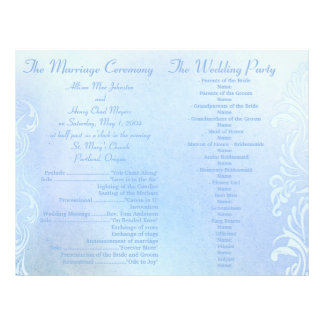 Blue Grunge Wedding programs 21.5 Cm X 28 Cm Flyer