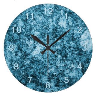 Blue Grungy Design Wall Clock