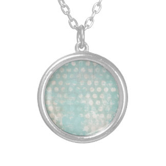 blue grungy dots personalized necklace