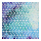 Blue Grungy Geometric Triangle Design Poster