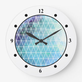 Blue Grungy Geometric Triangle Design Wallclocks