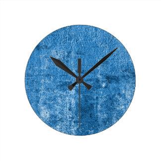 Blue grungy paint round clock