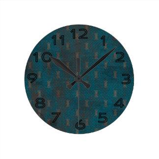 Blue Grungy Pattern Background Clock