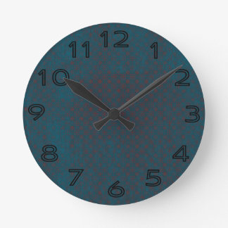 Blue grungy red background wall clock