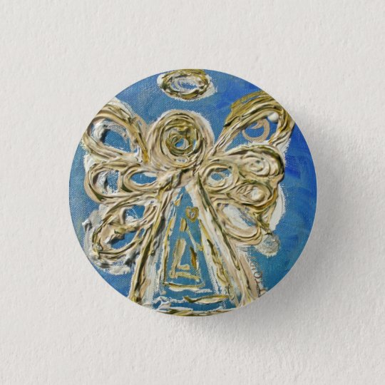 Blue Guardian Angel Buttons, Pins, or Pendants 3 Cm Round Badge