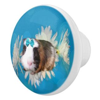 Blue Guinea Pig Flowers Ceramic Draw Knob. Ceramic Knob