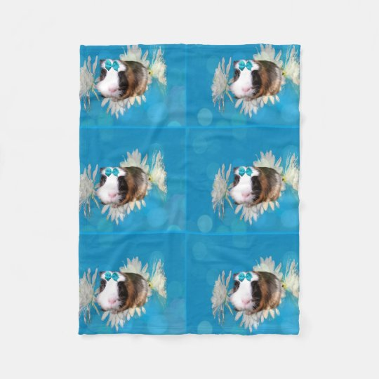 Blue Guinea Pig Flowers Small Fleece Blanket.