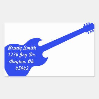 Blue guitar address card rectangle stickers
