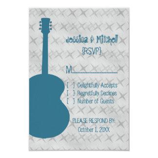 "Blue Guitar Grunge Response Card 3.5"" X 5"" Invitation Card"
