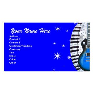 Blue Guitar Piano Keyboard & Stars Business Card
