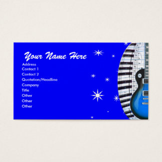 Blue Guitar Piano Keyboard & Stars Business Card