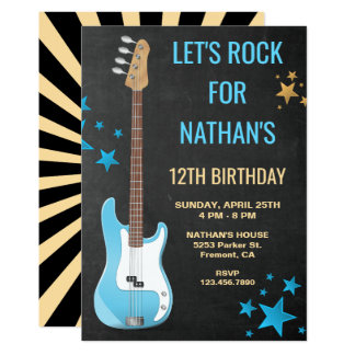 Blue Guitar Rock Star Birthday Party Invitation