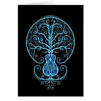 Blue Guitar Tree of Life on Black Greeting Card