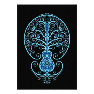 Blue Guitar Tree of Life on Black Custom Announcements