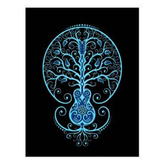 Blue Guitar Tree of Life on Black Postcards