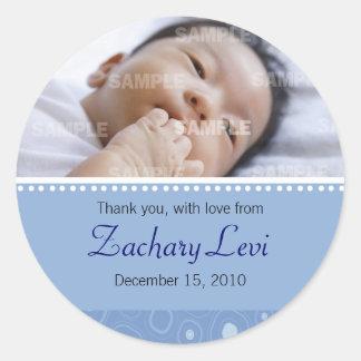 Blue Gumdrop Baby Message Round Sticker