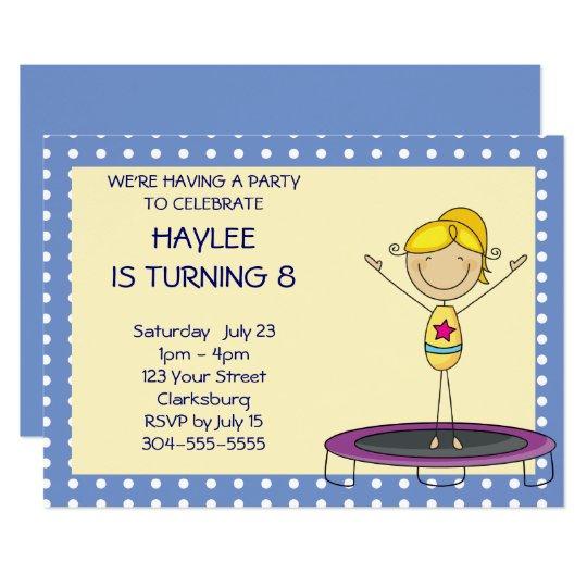 Blue Gymnastics Trampoline Birthday Party Card