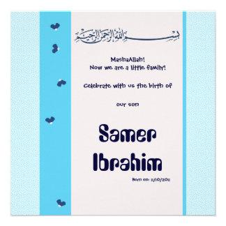 Blue hadith Aqiqa islam birth baby invitation