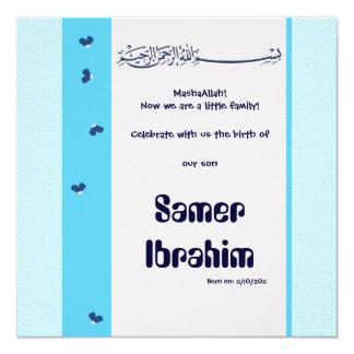 "Blue hadith Aqiqa islam birth baby invitation 5.25"" Square Invitation Card"