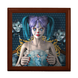 Blue hair clown model large square gift box